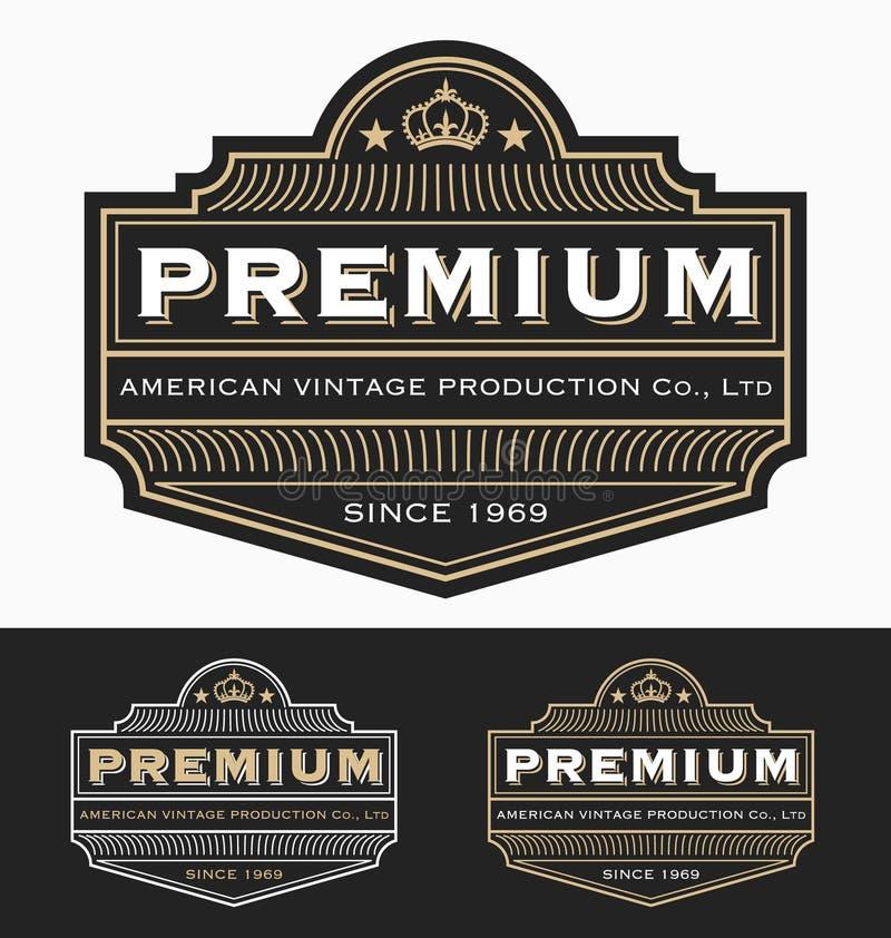 Design för etikett för tappningemblemlogo för högvärdig produkt royaltyfri illustrationer