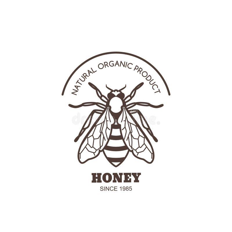 Design för etikett för vektortappninghonung Översiktshonungsbilogo eller emblem Linjärt bi som isoleras på vit bakgrund royaltyfri illustrationer