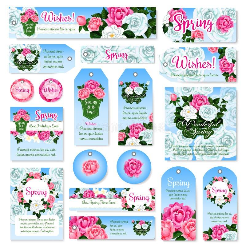 Design för etikett och för etikett för gåva för vårrosblomma fastställd stock illustrationer