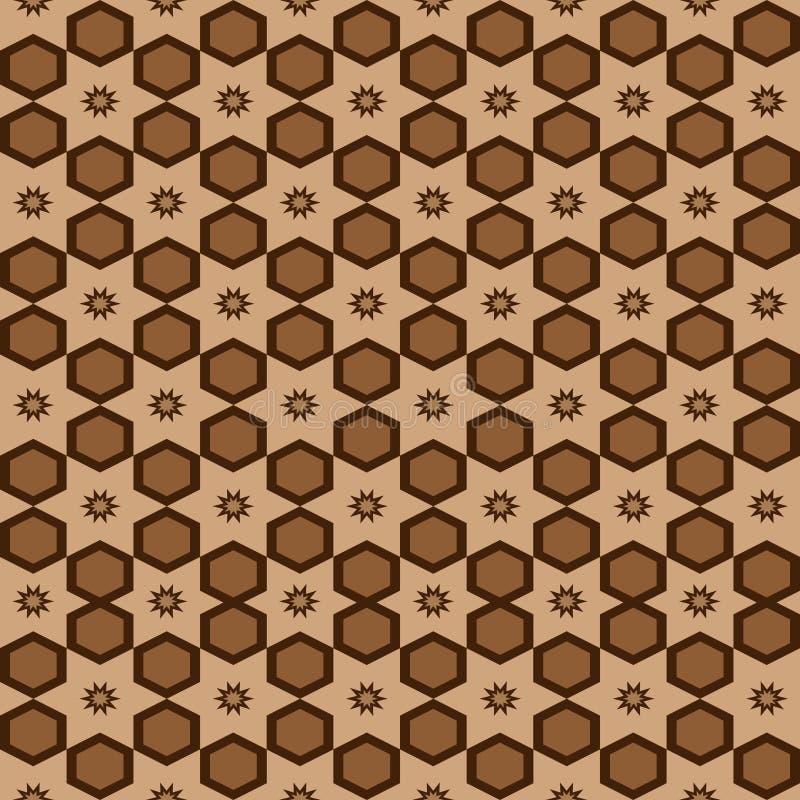 Design för etnisk bakgrund för sömlös geometrisk arabisk orientalisk modellvektor för arabesque traditionell med den bruna sexhör royaltyfri illustrationer