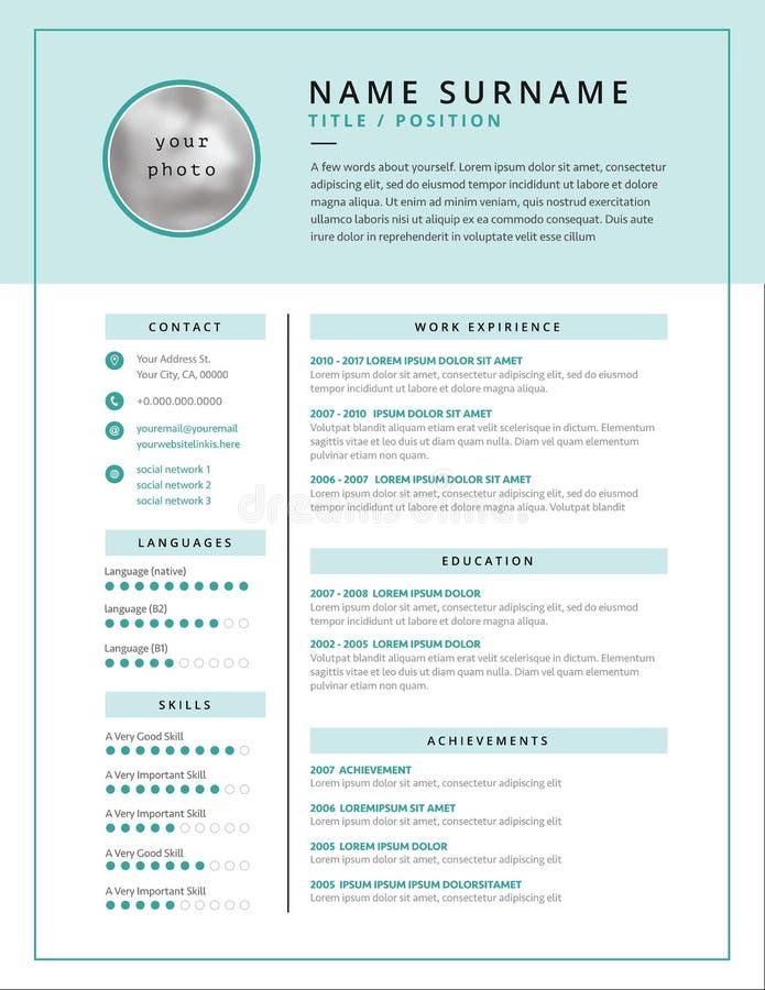 Design för exempel för läkarundersökningCV-/meritförteckningmall för doktorer - royaltyfri illustrationer