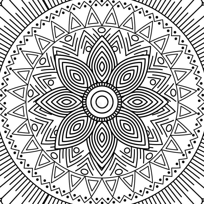 Design för färgläggning för blom- dekorativ etnisk beståndsdel för Mandala vuxen vektor illustrationer