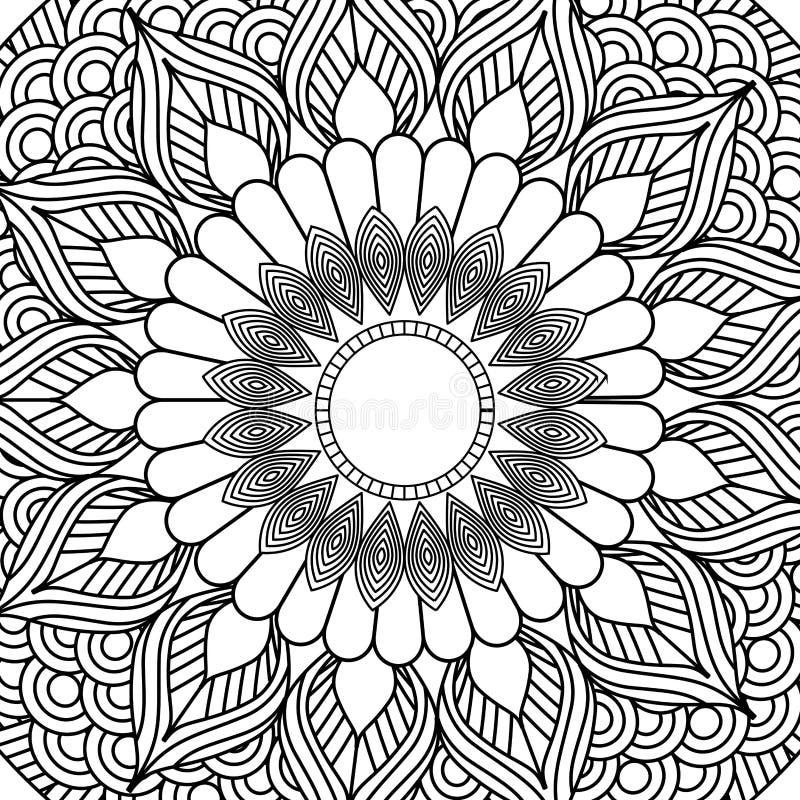 Design för färgläggning för dekorativ etnisk beståndsdel för Mandala vuxen vektor illustrationer