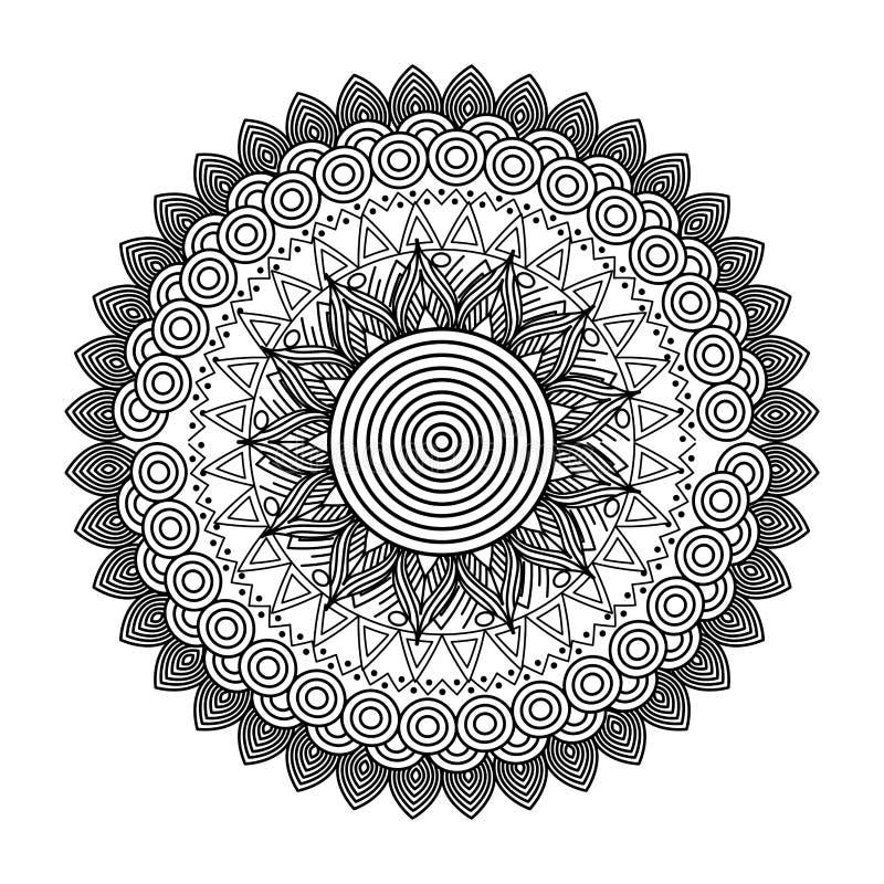Design för färgläggning för rund blom- beståndsdel för mandala dekorativ etnisk vuxen stock illustrationer