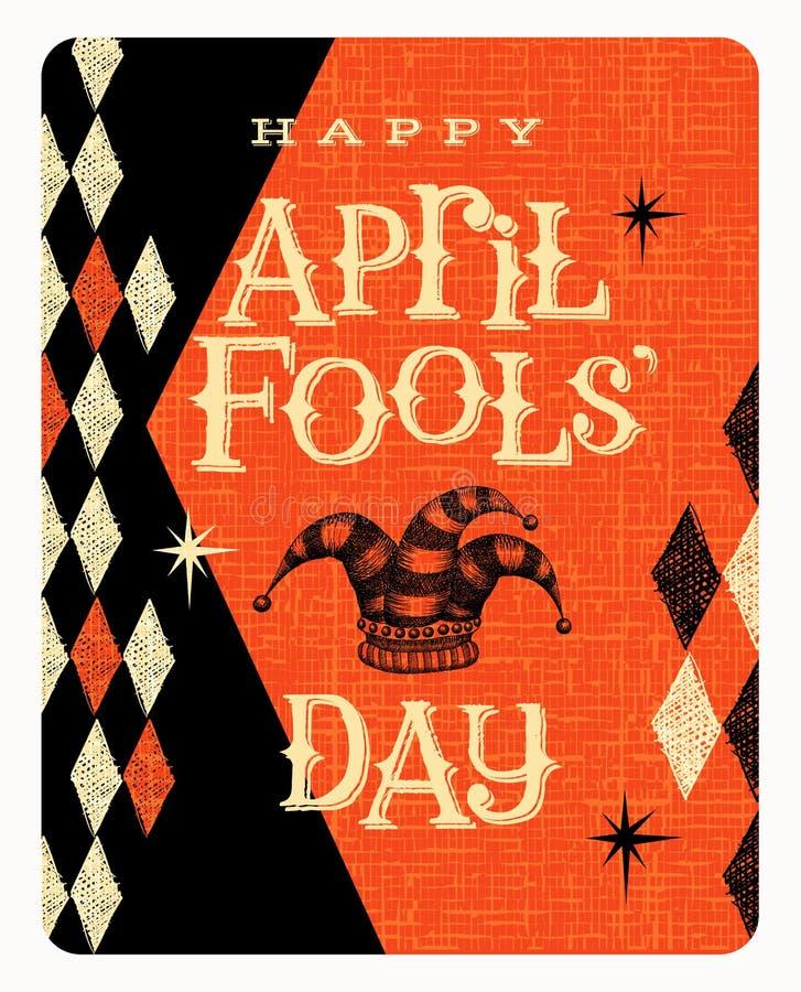 Design för för vektorApril Fools Day kort eller baner stock illustrationer