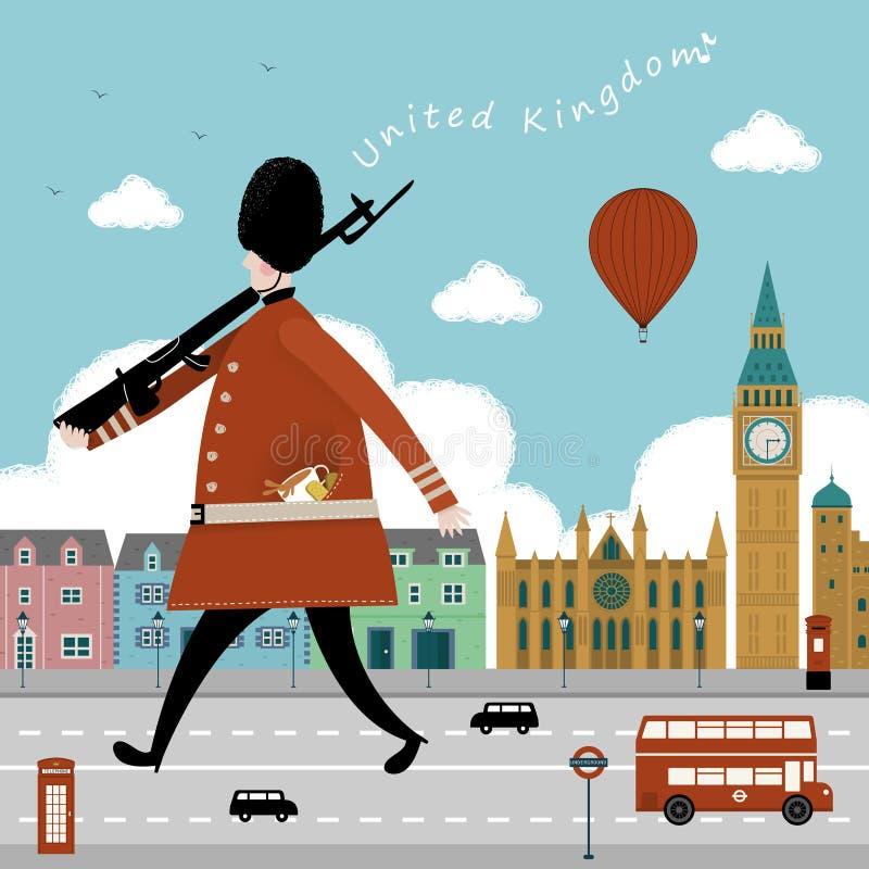 Design för Förenade kungariket loppintryck stock illustrationer