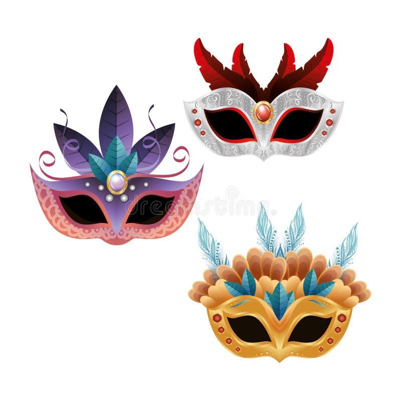Design för fjädrar för fastställd härlig maskeringskarneval ljus royaltyfri illustrationer