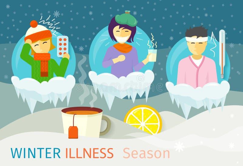 Design för folk för vintersjukdomsäsong royaltyfri illustrationer