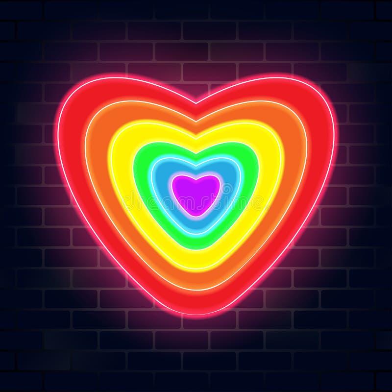 Design för form för hjärta för Lgbtq neonfärg royaltyfri illustrationer