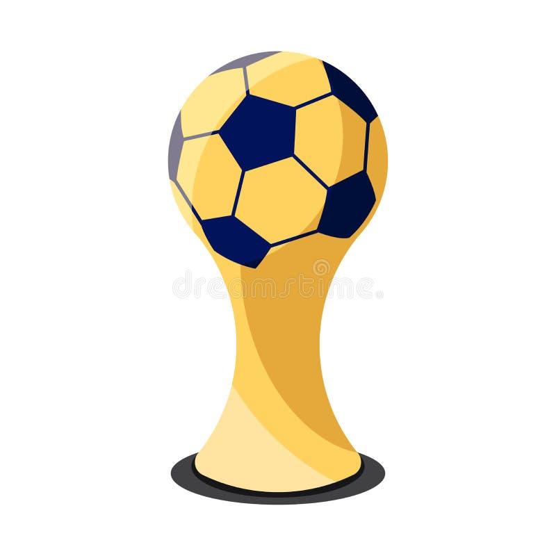 Design för fotbolltrofékopp på den vita designen för bakgrundslägenhetsymbol Guld- mästarekopp Utmärkelseteckenvektor och illustr stock illustrationer