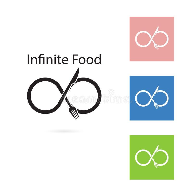 Design för gaffel- och knivlogobeståndsdelar Mat- och oändlighetssymbol royaltyfri illustrationer
