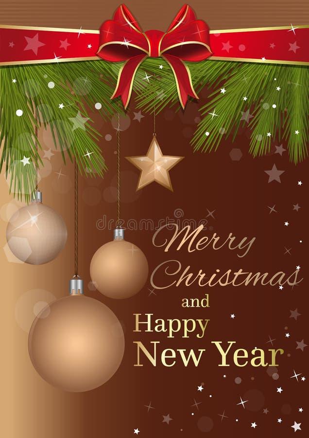 Design för glad jul och för lyckligt nytt år vektor illustrationer