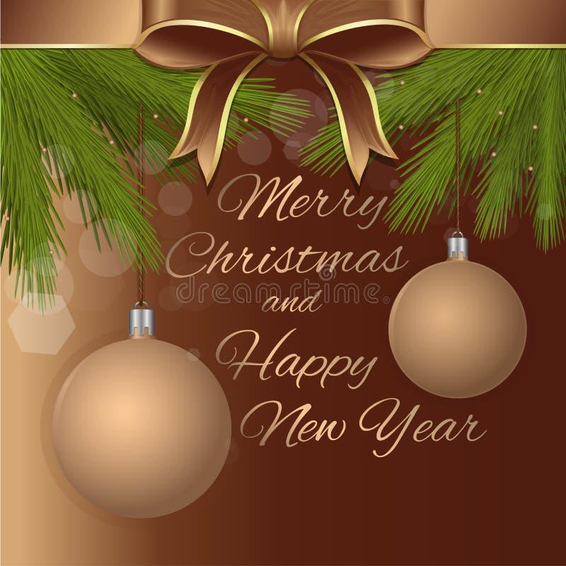 Design för glad jul och för lyckligt nytt år royaltyfri illustrationer