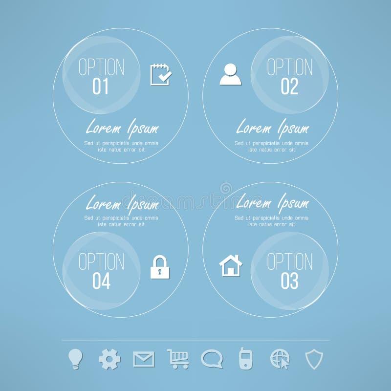 Design för glas- cirklar för vektor passande infographic stock illustrationer