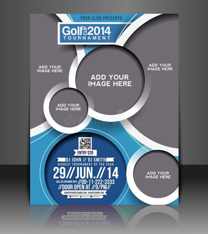 Design för golfturneringreklamblad royaltyfri illustrationer