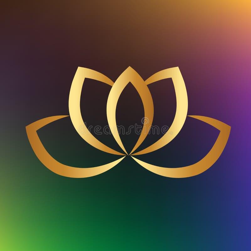 Design för guld- för symbol för logolotusblommablomma grafisk för yoga för vektor illustration för bild royaltyfri illustrationer