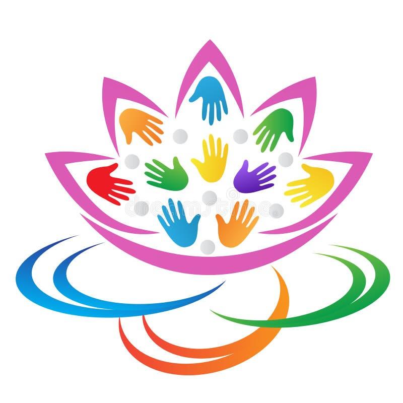 Design för händer för lotusblomma för blomma för omsorglogoabstrakt begrepp royaltyfri illustrationer