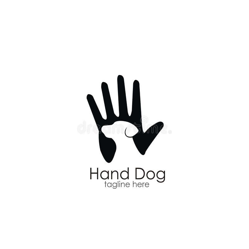 Design för handhundlogo royaltyfri illustrationer