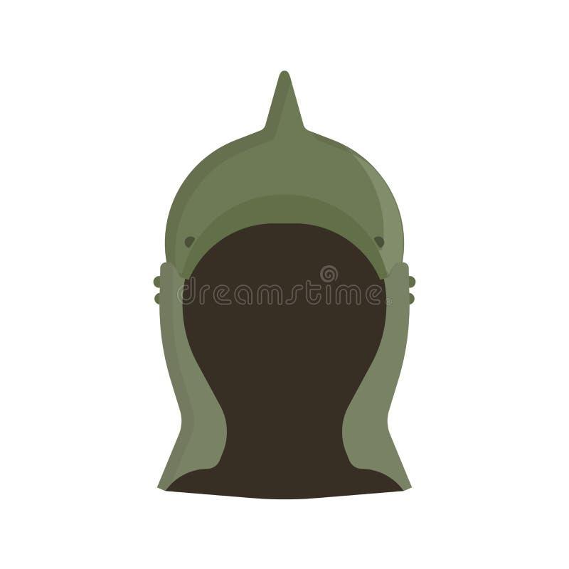 Design för harnesk för symbol för krighjälmvektor Militärt forntida arméskyddshuvud Vakt för maskering för stålkrigareutrustning  stock illustrationer