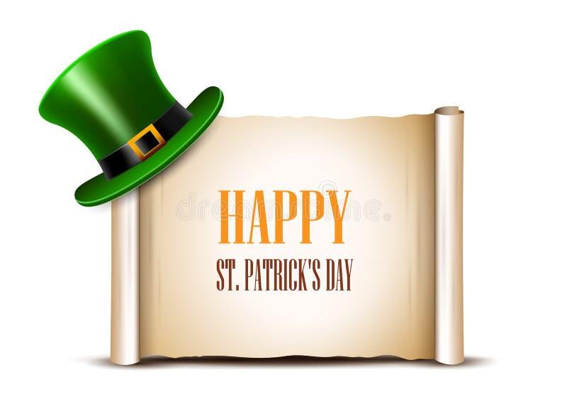 Design för helgonPatrick Day kort Grön bästa hatt och forntida papper r royaltyfri illustrationer