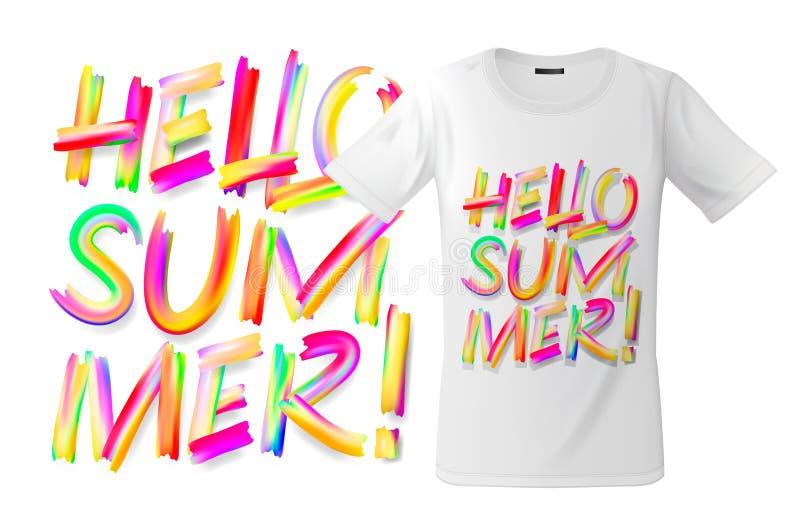 Design för Hello sommarT-tröja, modernt tryckbruk för tröjor, souvenir och annat bruk, vektorillustration royaltyfri illustrationer