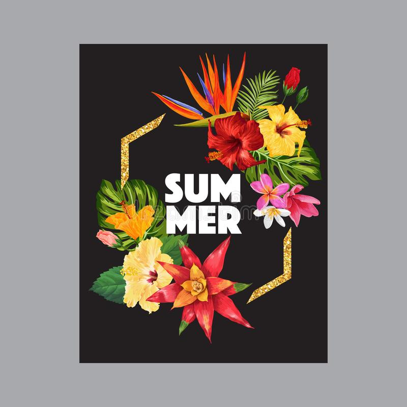 Design för Hello sommarvändkrets med den guld- ramen Tropisk HibisÑ  oss blommabakgrund för affischen, Sale baner, plakat, rekla stock illustrationer