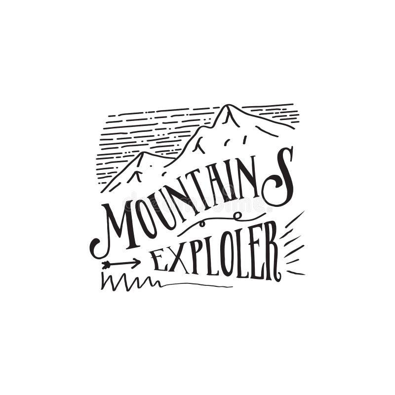Design för hipster för logo för bergutforskare retro royaltyfri illustrationer