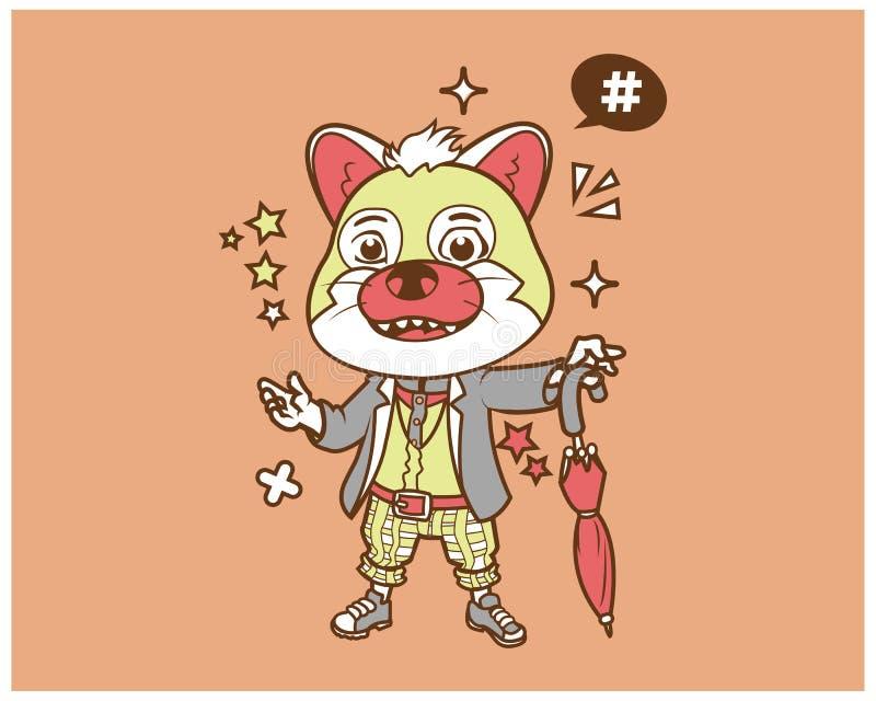 Design för HipsterCat Cartoon T skjorta royaltyfri illustrationer