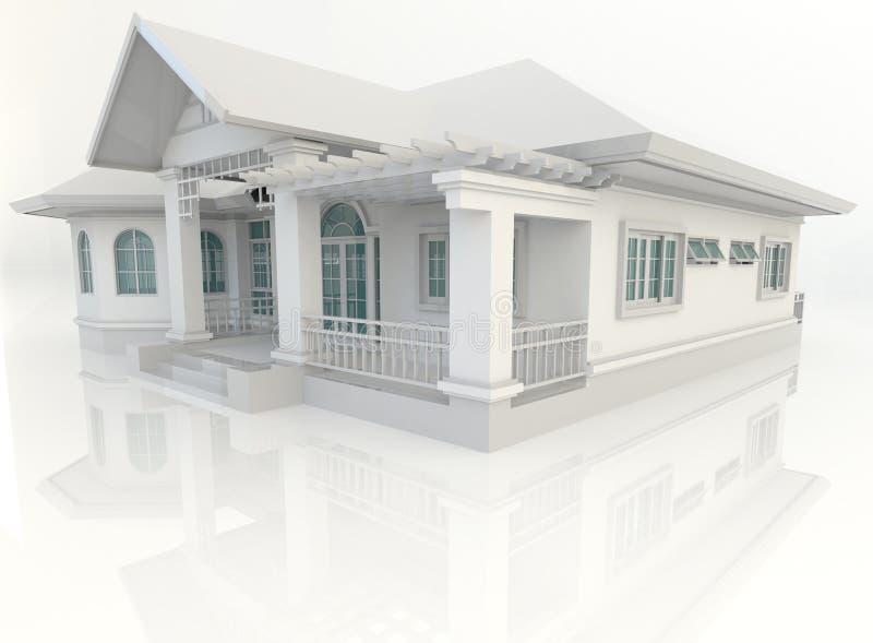 design för hus för tappning 3D yttre med refelction i vit backgr royaltyfri illustrationer