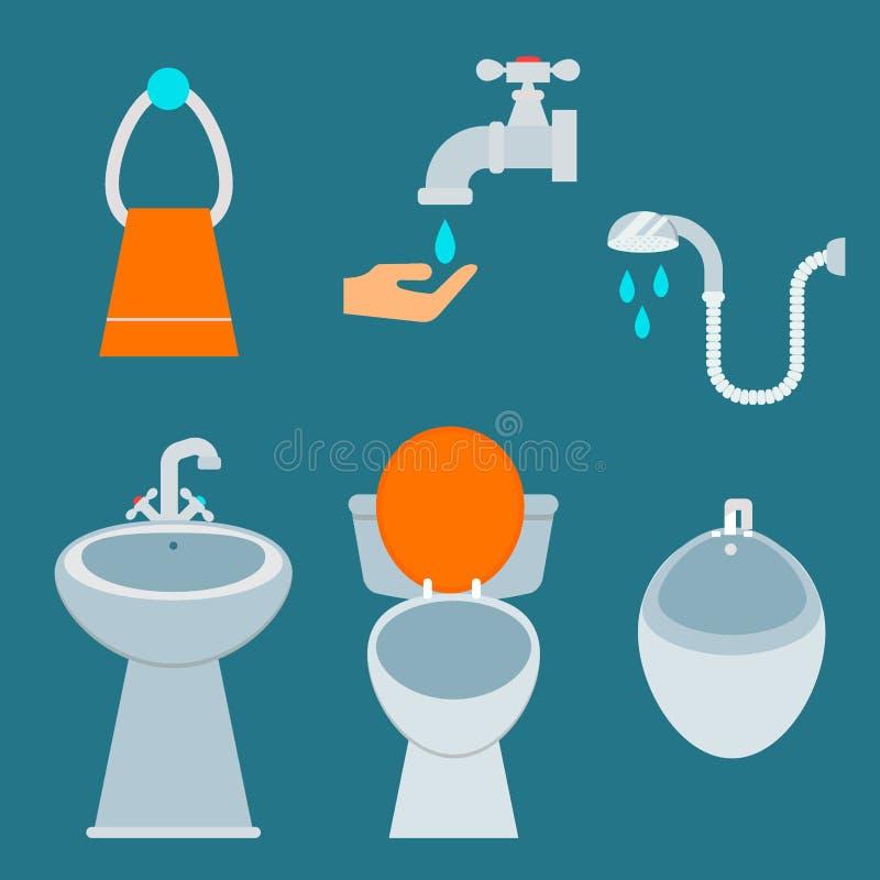 Design för hygien för illustration för stil för lägenhet för rengöring för badrum för bunke för toalett för badutrustningsymbol stock illustrationer