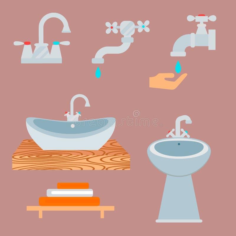 Design för hygien för illustration för stil för lägenhet för rengöring för badrum för bunke för toalett för badutrustningsymbol royaltyfri illustrationer