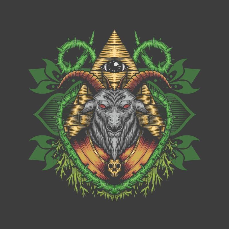 Design för illustration för Baphomet illuminativektor royaltyfri illustrationer