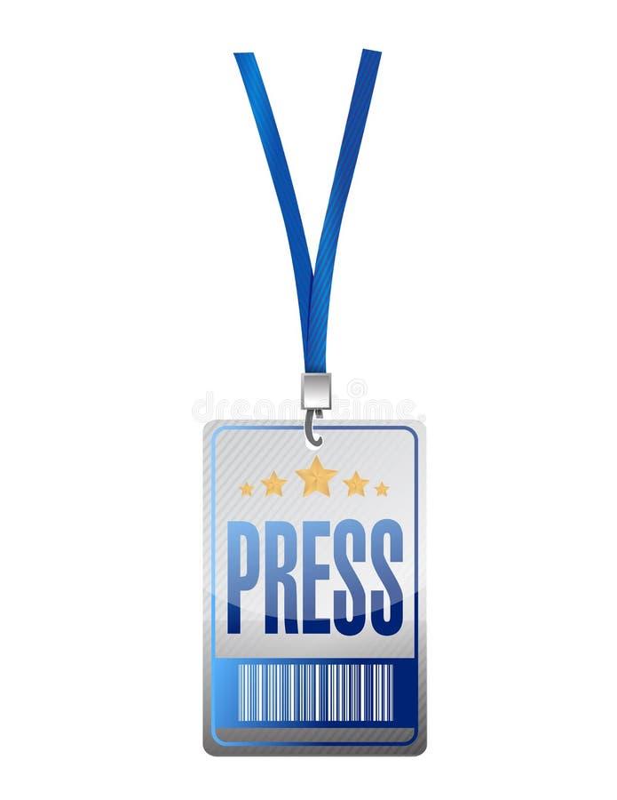 Design för illustration för etikett för presspasserande vektor illustrationer