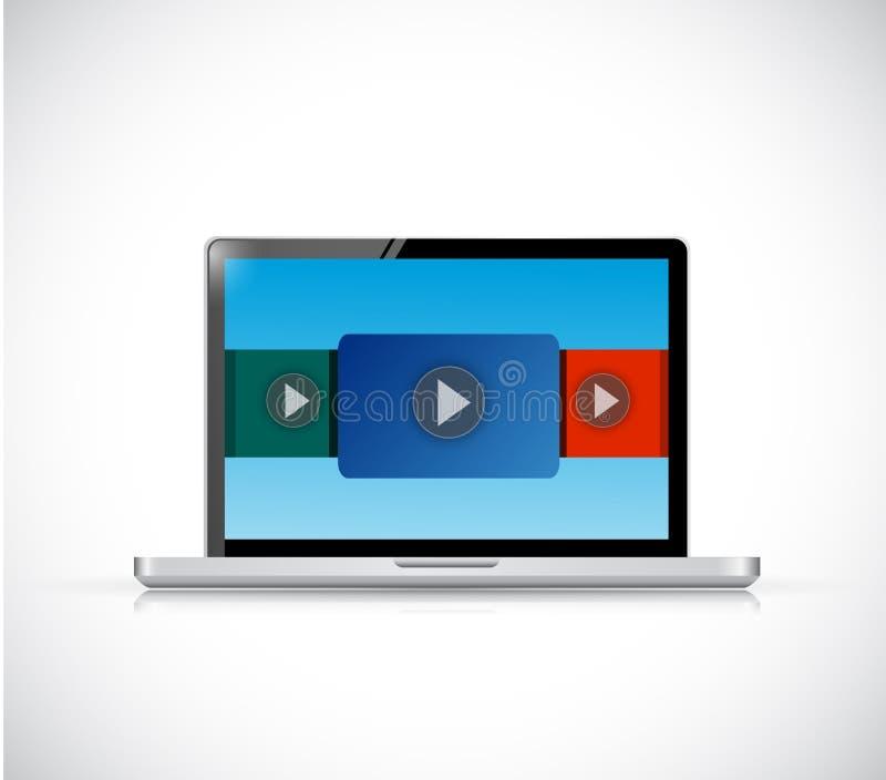Design för illustration för skärm för video för bärbar datordator stock illustrationer