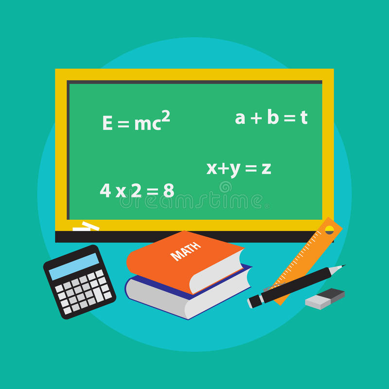 Design för illustration för vektor för symbol för skolabegreppsmatematik stock illustrationer