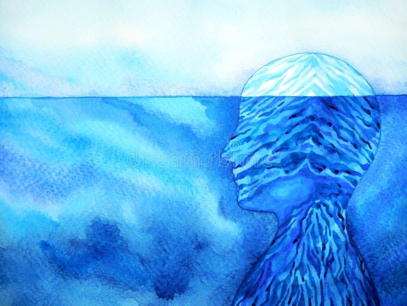 Design för illustration för målning för vattenfärg för abstrakt för isberg mening för mänskligt huvud mental andlig arkivbild
