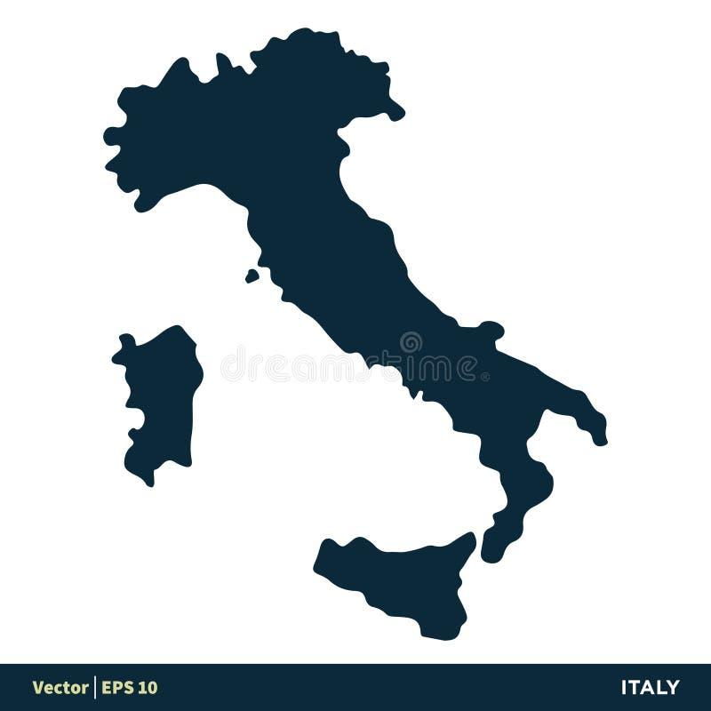 Design f?r illustration f?r mall f?r symbol f?r vektor f?r Italien - Europa lands?versikt Vektor EPS 10 vektor illustrationer
