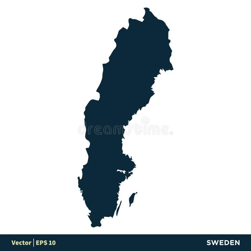 Design f?r illustration f?r mall f?r symbol f?r vektor f?r Sverige - Europa lands?versikt Vektor EPS 10 stock illustrationer