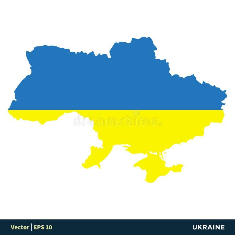 Design för illustration för mall för symbol för vektor för för Ukraina - Europa landsöversikt och flagga Vektor EPS 10 stock illustrationer