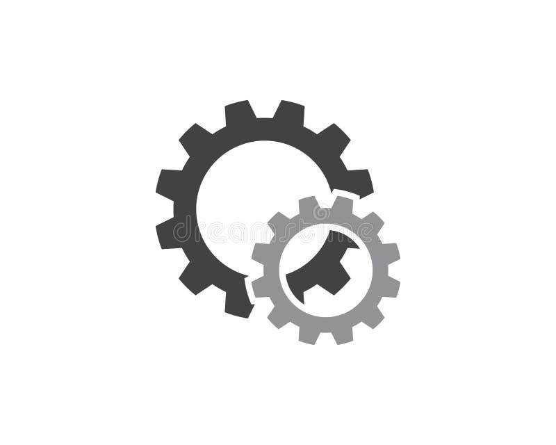 Design för illustration för symbol för kugghjulLogo Template vektor stock illustrationer