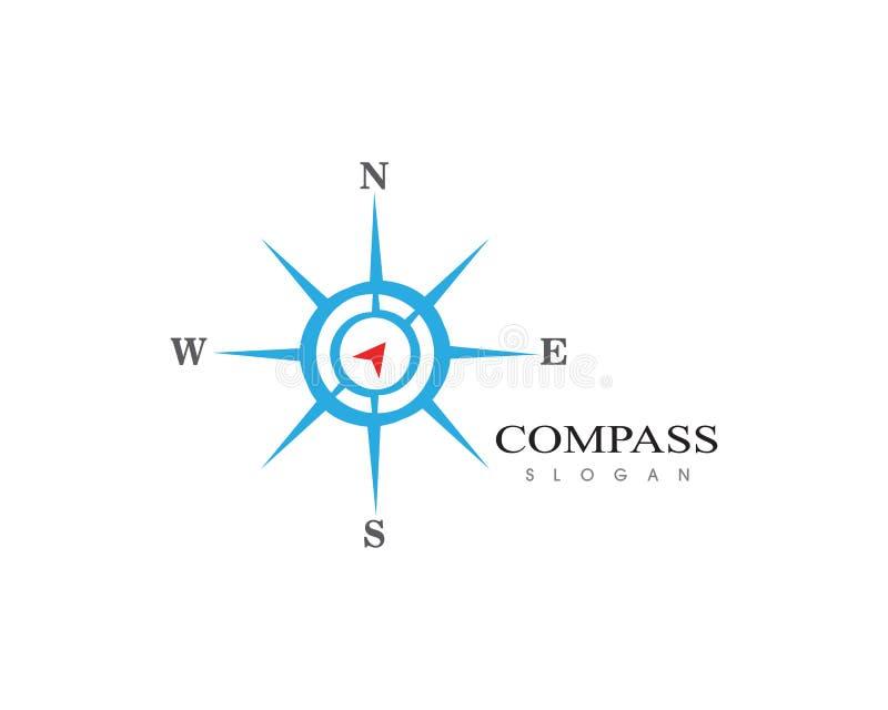 Design för illustration för symbol för vektor för mall för kompasslogotecken royaltyfri illustrationer