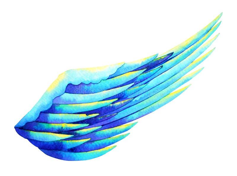 Design för illustration för teckning för hand för målning för ängelvingvattenfärg royaltyfri illustrationer