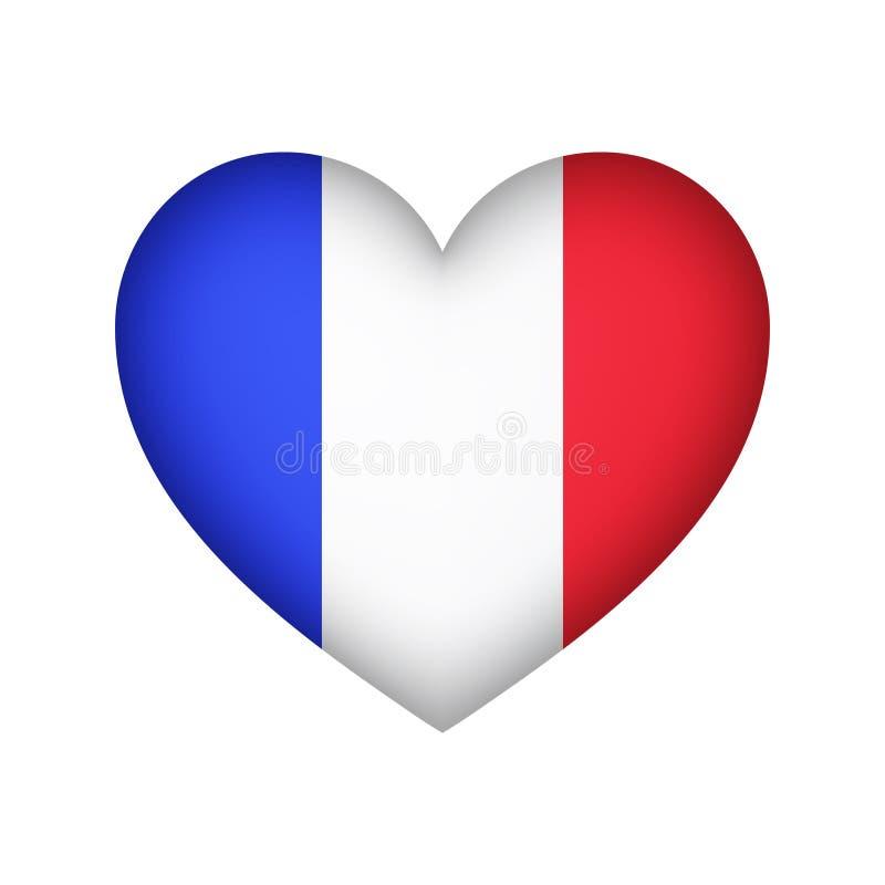 Design för illustration för vektor för form för Frankrike flaggahjärta stock illustrationer