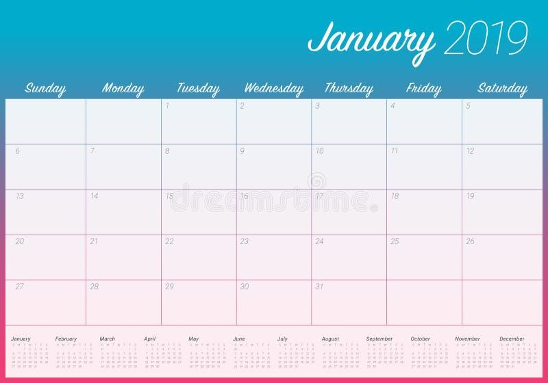 Design för illustration för vektor för Januari 2019 skrivbordkalender enkel och ren, vektor illustrationer