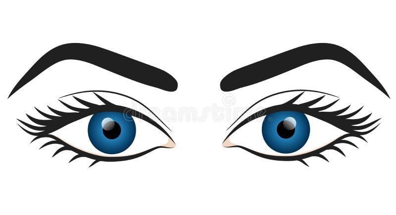 Design för illustration för vektor för materiel för attraktion för hand för blåa ögon för kvinna stock illustrationer