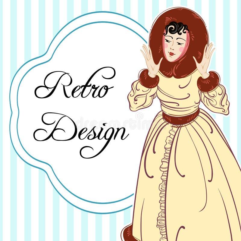 Design för inbjudan för tappningstiljul med den härliga damen av 20-tal retro deltagare art déco modernt vit tar av planet dekore vektor illustrationer
