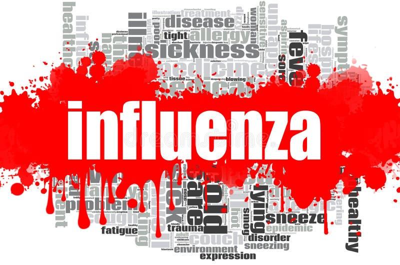 Design för influensaordmoln stock illustrationer