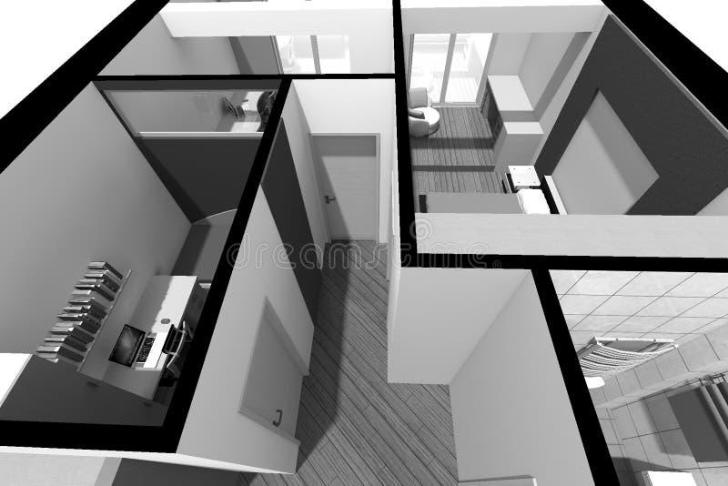 design för inre 3D B/W royaltyfri illustrationer