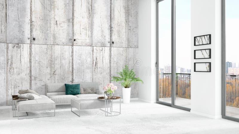 Design för inre för stil för splitterny vitt vindsovrum minsta med copyspaceväggen och sikt ut ur fönster framförande 3d royaltyfri illustrationer