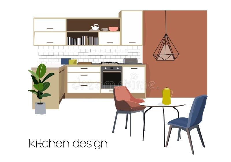 Design för inre för vektorkökmatsal möblemanghandteckning hem- husdekor terrakotta vektor illustrationer